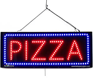 Large LED Window Food Sign - Pizza - Extra Bright LEDs - Can Be Seen Through Tinted Windows - Extra Large - 32 inches Wide (#2688)