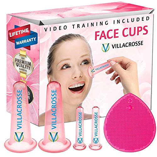 Silicone Facial Cupping Therapy Sets - Massage Facial Cups for Cupping w/Silicone Facial Cleansing Pad Face Brush & Video Tutorials - Face Cupping Kit for Eye & Face, Flamingo Pink