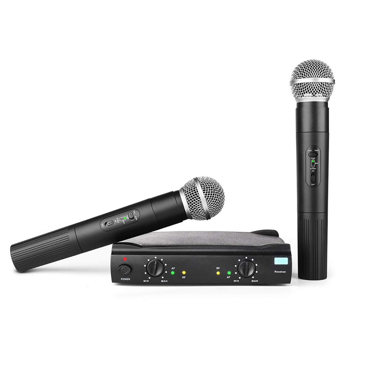 Professional Vocal Wireless Microphone System, Frunsi AMR AM-27 Dual Dynamic VHF Cordless Handheld Microphone with Multiport Receiver, Long Range Wireless Signal for Karaoke, Sing, DJ, Church, Wedding by Frunsi