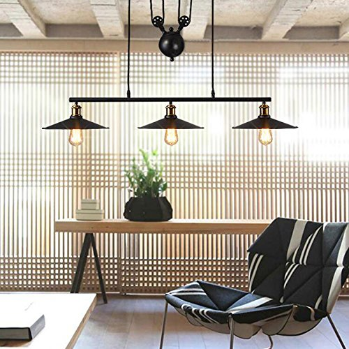 WINSOON Ship from USA Creative Pulley Design Black Iron Painted 3-Lights Island Light Bar Retro Hanging Lamp 3 Heads by WINSOON (Image #3)