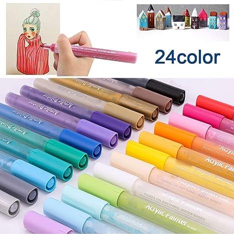 Velidy 24 Couleursen Acrylique De Peinture Permanent Marqueur Pour
