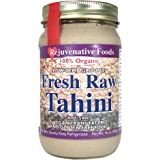 Fresh Pure Raw Tahini-Creamy-Smooth-Hulled-Sesame-Seed Butter In-Glass Low-Temp-Ground 100% Organic Certified USDA Vitamin-Protein-Antioxidant-Mineral-Nutrition Rejuvenative Foods-16oz