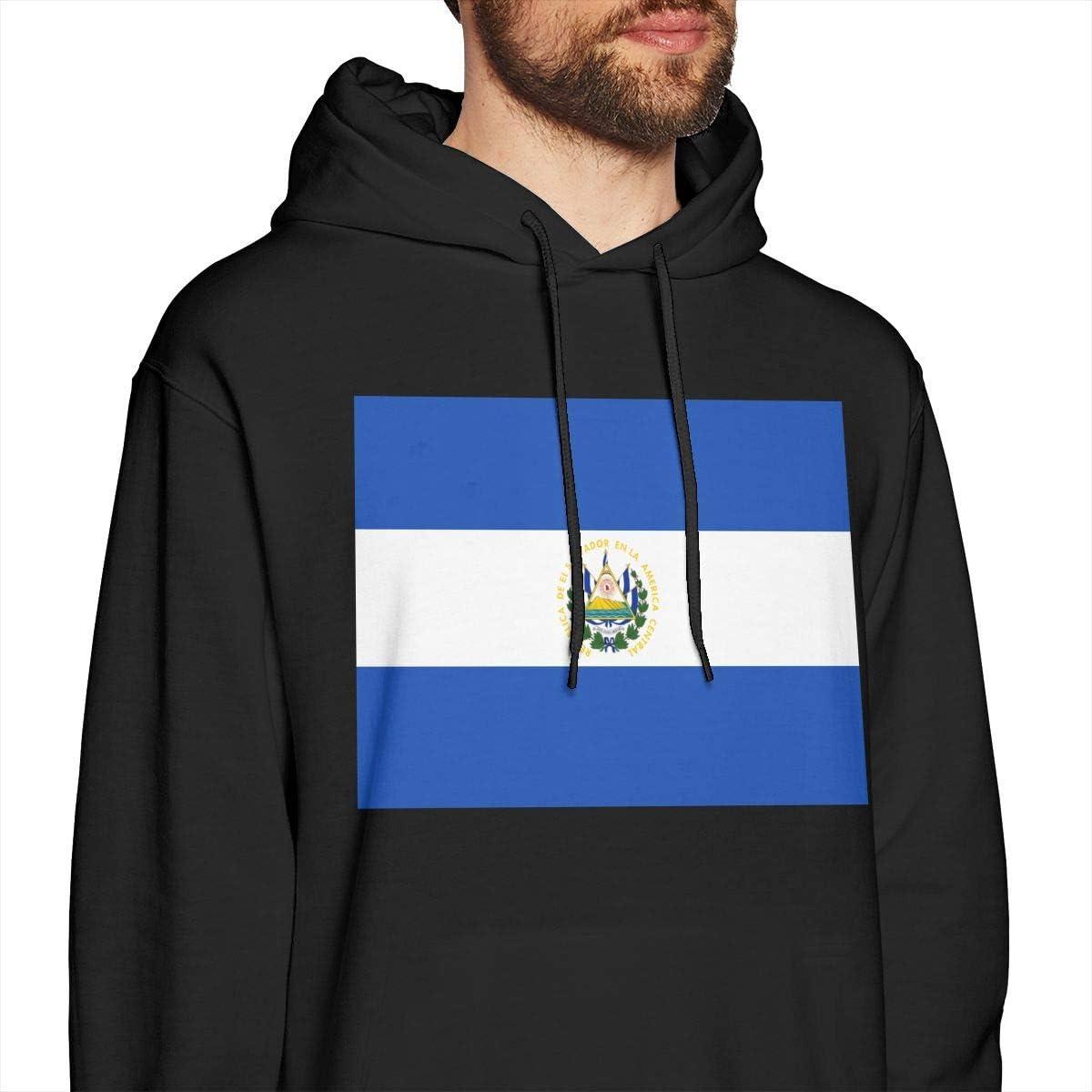 Mens Hoodies Flag of El Salvador Cool Pullover Hooded Print Sweatshirt Jackets