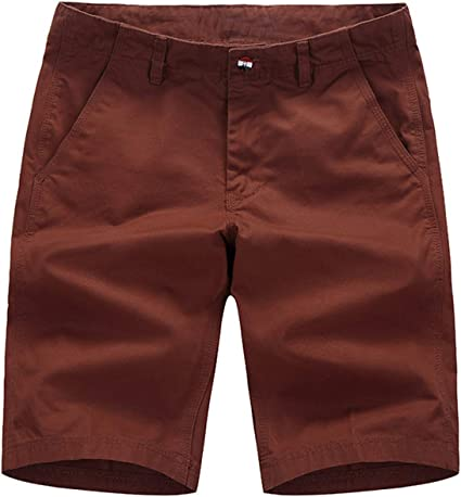 INCERUN Mens Summer Cotton Shorts Classic Flat Front Casual Work Chino Shorts