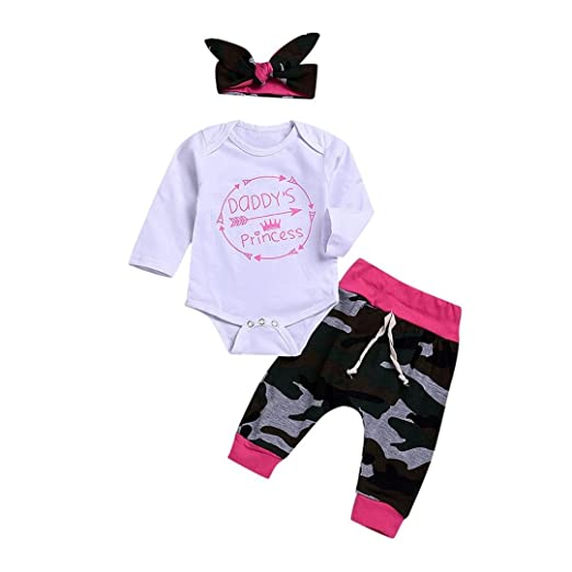611d6b538a23 Amazon.com: Toddler Baby Girl 3Pcs Clothes Sets for 0-24 Months,Letter  Arrow Crown Camouflage Printed Romper Tops Pants Headband Outfits: Clothing