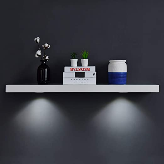 Amazon Com Welland White Floating Shelf With Touch Sensing Battery Powered Led Light Wall Mounted Display Shelves For Entrance Living Room Bedroom Kitchen And Bathroom 48 Inch White Home Kitchen