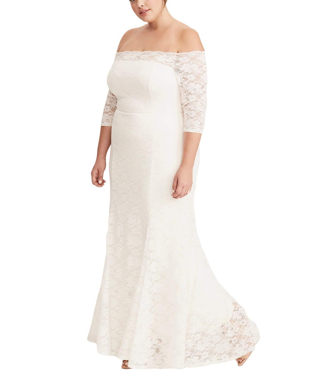 3c21fa0d0ba Diukia Women's Elegant Plus Size Lace Off Shoulder Half Sleeve Party  Cocktail Evening Maxi Dress(XL-XXXXXL)