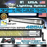 No.1 32' Curved Pro Tri-Row Led Light Bar 405w 40,500LM 7D Spot Flood Combo Beam for Off Road Jeep ATV AWD SUV 4WD 4x4 RZR CanAm