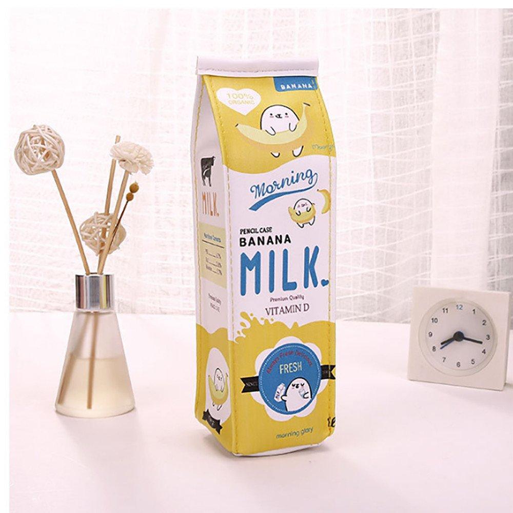 Astuccio portapenne Creativo a Forma di Latte con Cerniera per Scuola e Ufficio Blue FiedFikt