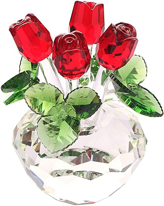 Red Rose /'I Love You Mum/' Glass Paperweight in Gift Box Christmas Pres MUM-R1PW