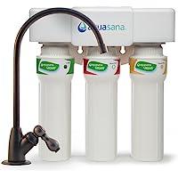 Aquasana AQ-5300+.55 Filtro de agua para debajo del fregadero con llave de níquel cepillado, Bronce aceitado