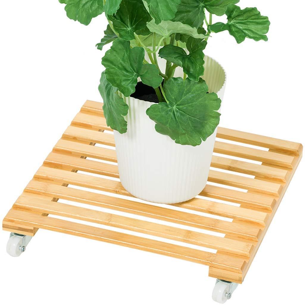 H.L Flower Stand in Legno con Ruote, Soggiorno Interno Balcone Flower Pot Base Moving Flower Shelf Pot Coaster (Dimensioni   60  30cm)