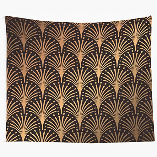 Jacrane Tapestry Wall Hanging with 60x80 Inches Art Deco Pattern Golden Background Minimalistic Geometric Art Tapestries for Bedroom Living Room Home Decor Wall Hanging Tapestries ()