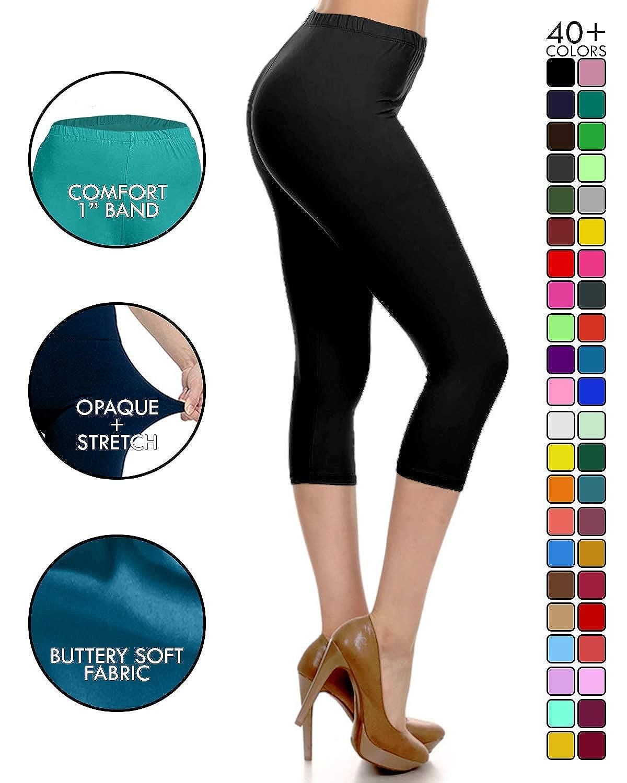 d22b2afbc5b3a Leggings Depot High Waisted Capri Leggings - Soft & Slim - 37+ Colors at  Amazon Women's Clothing store: