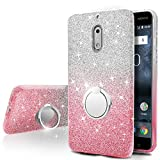 Nokia 6 Case,Silverback Girls Bling Glitter Sparkle Cute Phone Case With 360 Rotating Ring Stand, Soft TPU Outer Cover + Hard PC Inner Shell Skin for Nokia 6 -Pink