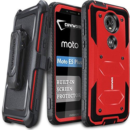 Moto E5 Plus / E5 Supra Case, COVRWARE [ Aegis Series ] Case with Built-in [Screen Protector] Heavy Duty Full-Body Rugged Holster Armor Case [Belt Swivel Clip][Kickstand], Red