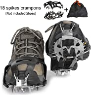 Puoyis Ice Cleats Crampons Traction Snow Grips for Shoes Boots,18 Spikes Women Men Kids Anti Slip Ice Cleats for Winter Hiking Fishing Walking Climbing Jogging Mountaineering