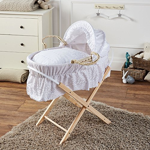 Broderie Anglaise Moses Basket With Mattress Covers & Folding Stand White For-Your-Little-One