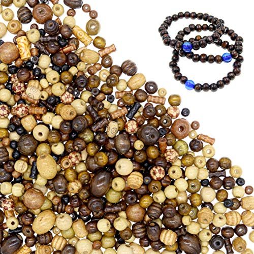 700 PCS Wooden Beads for Jewelry Making Adults, Assorted African Beads, Macrame Supplies Round Beads, Craft Wood Beads for Bracelets and Necklace Jewelry, 3 Free Stretch Beaded Bracelet Pack