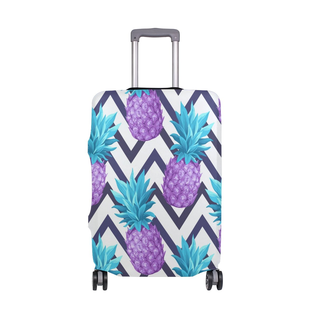 Summer Striped Pineapples Tropical Suitcase Luggage Cover Protector for Travel Kids Men Women