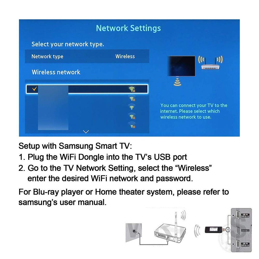 802.11ac 2.4GHz and 5GHz Dual-Band ZMLM USB WiFi Adapter for Samsung Smart TV Year 2009-2011 Models Wireless Network Wi-Fi LAN Adapter Stick for Samsung TV Windows 10//8 // 8.1//7// Vista//XP// 2000