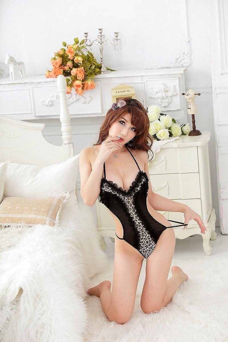 Shangrui Femminile 3-Punti Leopardo Siamese Intima Halter Lace Pajamas W623