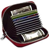 LingLingo RFID Blocking Credit Card Organizer Wallet Genuine Leather Zipper Security Travel Small Money Holder,Dark Red