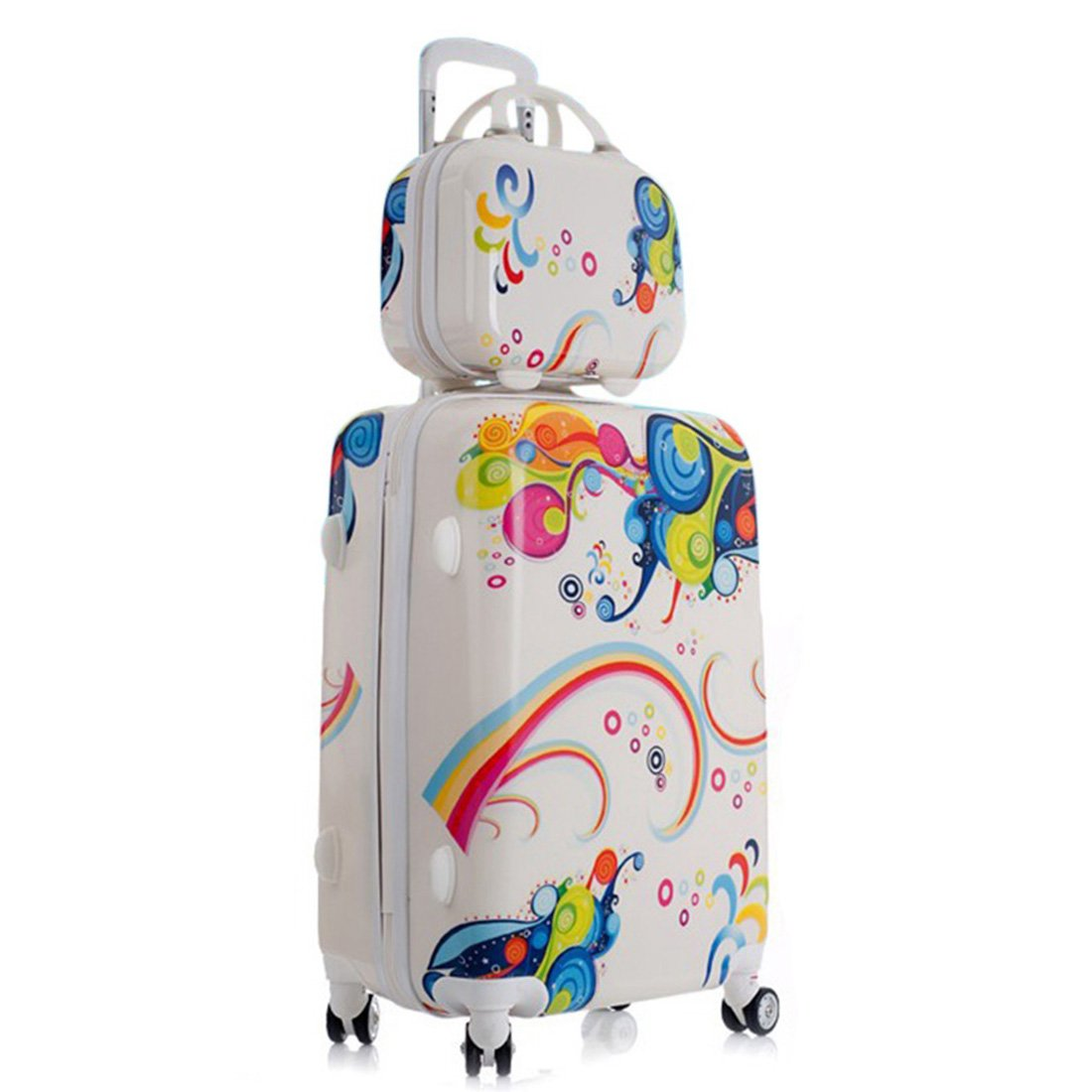 20 Inches 2PCS Children's Suitcases Aluminum Alloy Pull Rod Rolling Luggage Sets Waterproof Child Suitcases and Travel Bags 4 Wheels