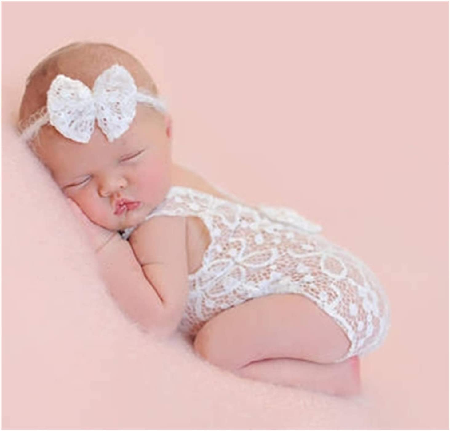 Newborn Baby Lace Rompers Photography Props with Bow Headdress Shoot Outfits for Infant Boy Girl Princess Twins White 0-6 Months