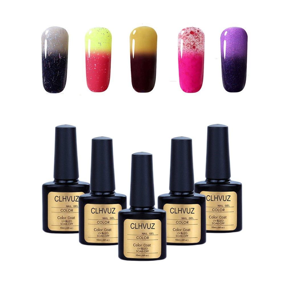 Clhvuz - Conjunto de iniciación para manicura de uñas, 5 unidades, esmalte de uñas en gel que cambia de color con la temperatura, secado con lámpara UV o ...