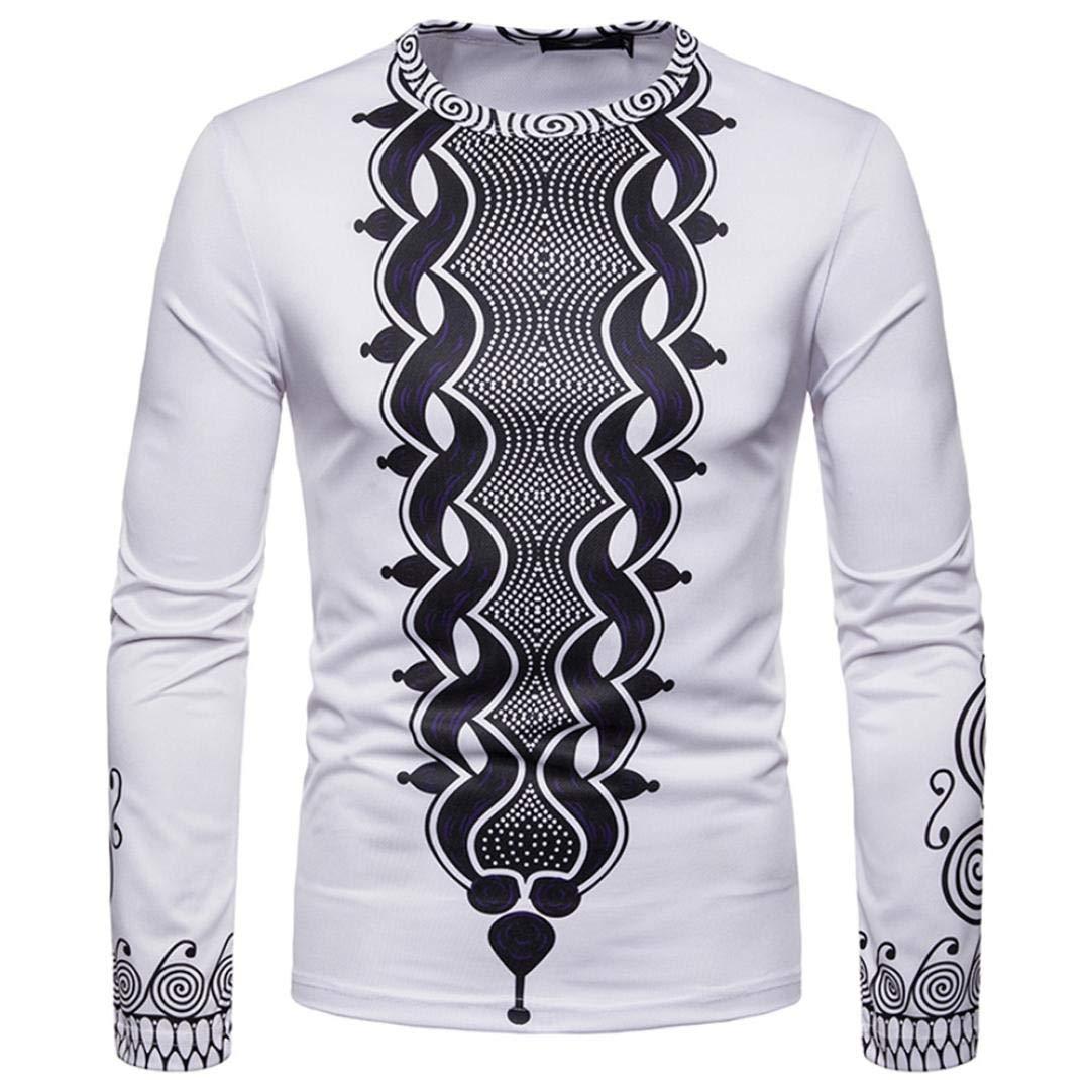 ZIYOU Herren Sweatshirt Top mit Afrikanischen 3D Drucken, Männer Rundhals Langarm Pullover T Shirts Herbst Winter Weiß
