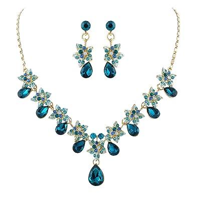 TENYE Women's Crystal Camellia Flower Teardrop Necklace Earrings Set 5xHUo
