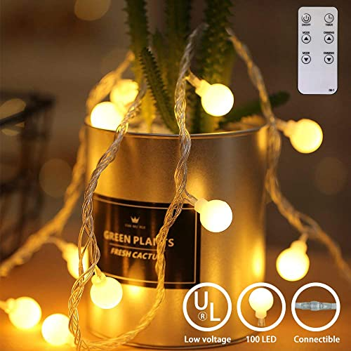 Ball-Shaped String Light, 49ft 100 LED Warm White Waterproof Decorative Fairy String Lights String for lndoor and Outdoor, with Infrared Remote Control, 30V Low Voltage Transformer, Expandable