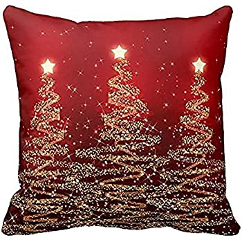 ZGstore 4 Pack Christmas Theme Throw Pillow Cover 18 x 18 Cushion Case Holiday Decoration Home Living Room Couch Sofa Bedroom Bed