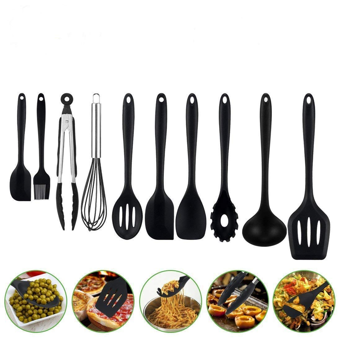 Aibesser Silicone Kitchen Utensils Set,Cooking Utensils Set 10 Pcs,Heat Resistant and Nonstick Cooking Gadgets Tool,Silicone Spoon Whisk Black New Arrival