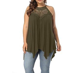 f5b1fd8f1d9 Allegrace Women s Plus Size Lace Front Spaghetti Strap Tunic Tops  Sleeveless Pleated Long T Shirts