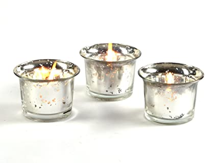 1a7399610f01 Set of 3 Hosley® Metallic Silver Glass Candle Tealight Holder with 6pcs  Bonus Tealights  Amazon.in  Home   Kitchen
