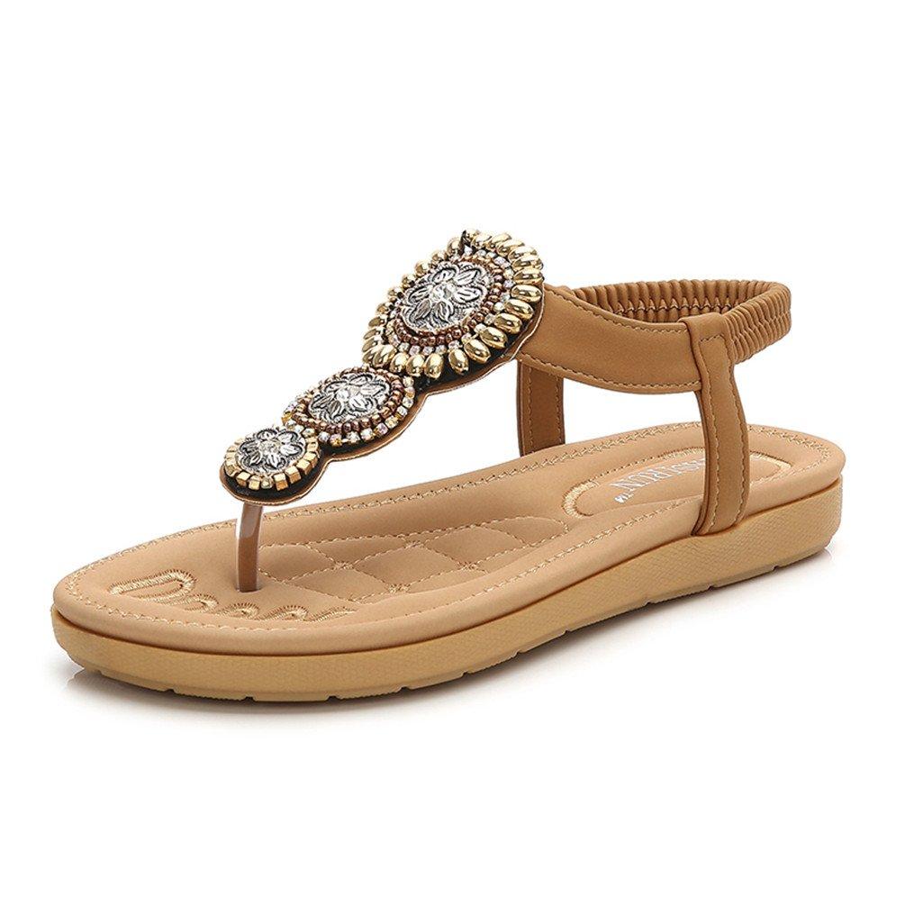 Fashion Pier Damen Bohemia Sandalen Zehentrenner Strass Elegant Sandalen Sommerschuhe Elastischen Strand Schuhe Gr.35-41  38 EU|Braun-b