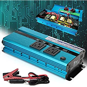 Newest 1500W Car Power Inverter DC 12V To AC 110V Digital Display Converter 4 USB Charging Ports 2 Outlets with Cigarette Lighter Plug Cord and Battery Clamps