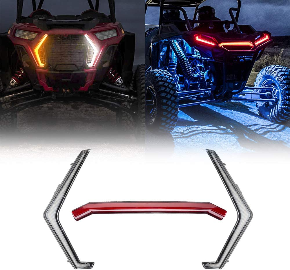 KEMIMOTO front Signature//Fang Light Assembly /& Rear RZR Center Taillight Compatible with 2019 Polaris RZR XP 1000 Turbo RZR Fang Accent Light Kit