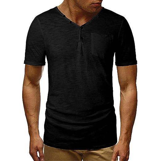 cffaffcf Giulot Men's Short-Sleeve Heavyweight Three-Button Henley Shirt Slim Fit  Short Sleeve Henley