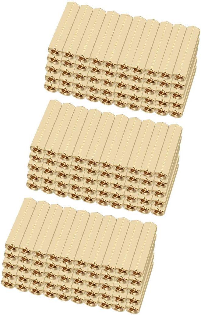 sourcing map Espaciador separador tornillo hexagonal recto pilar PCB de rosca hembra de M3x5x20mm 150 piezas