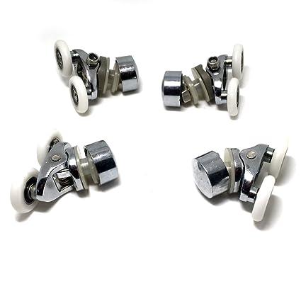 Repuesto ruedas para mampara de ducha cromo - 2 x Top & 2x parte inferior -