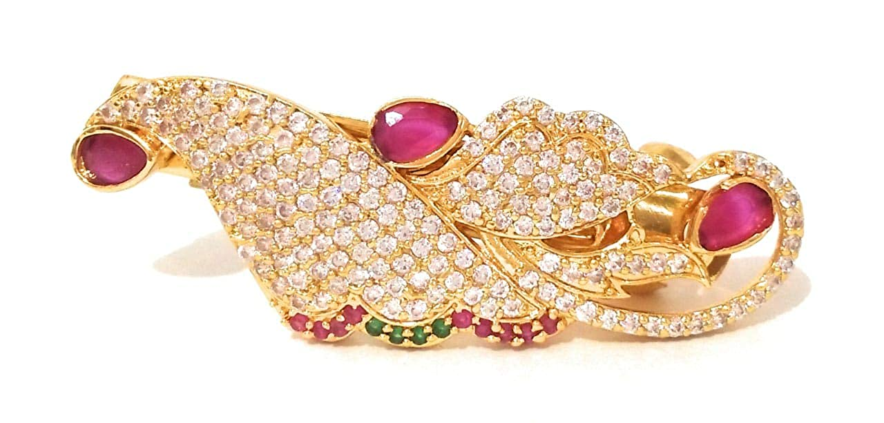 4a1214af08 SRI SAI ONE GRAM GOLD PLATED RUBY STONE HAIR CLIP FOR WOMENS AND GIRLS:  Amazon.in: Jewellery