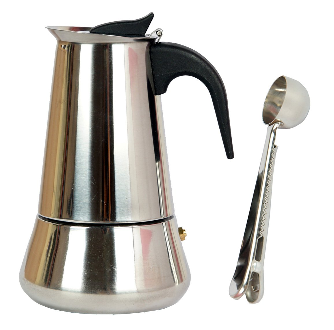 Mykumi Moka Pot 9 Cup Espresso Maker, Stainless Steel for Gas, Electric and Ceramic Stovetop with Coffee Spoon (9 Cup)