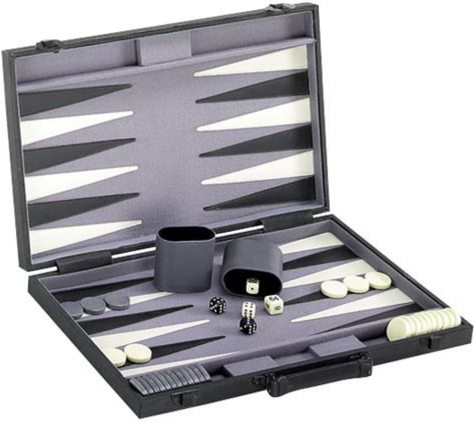 "18/"" Modern Backgammon Game Set Black Ribbed Exterior Case New"