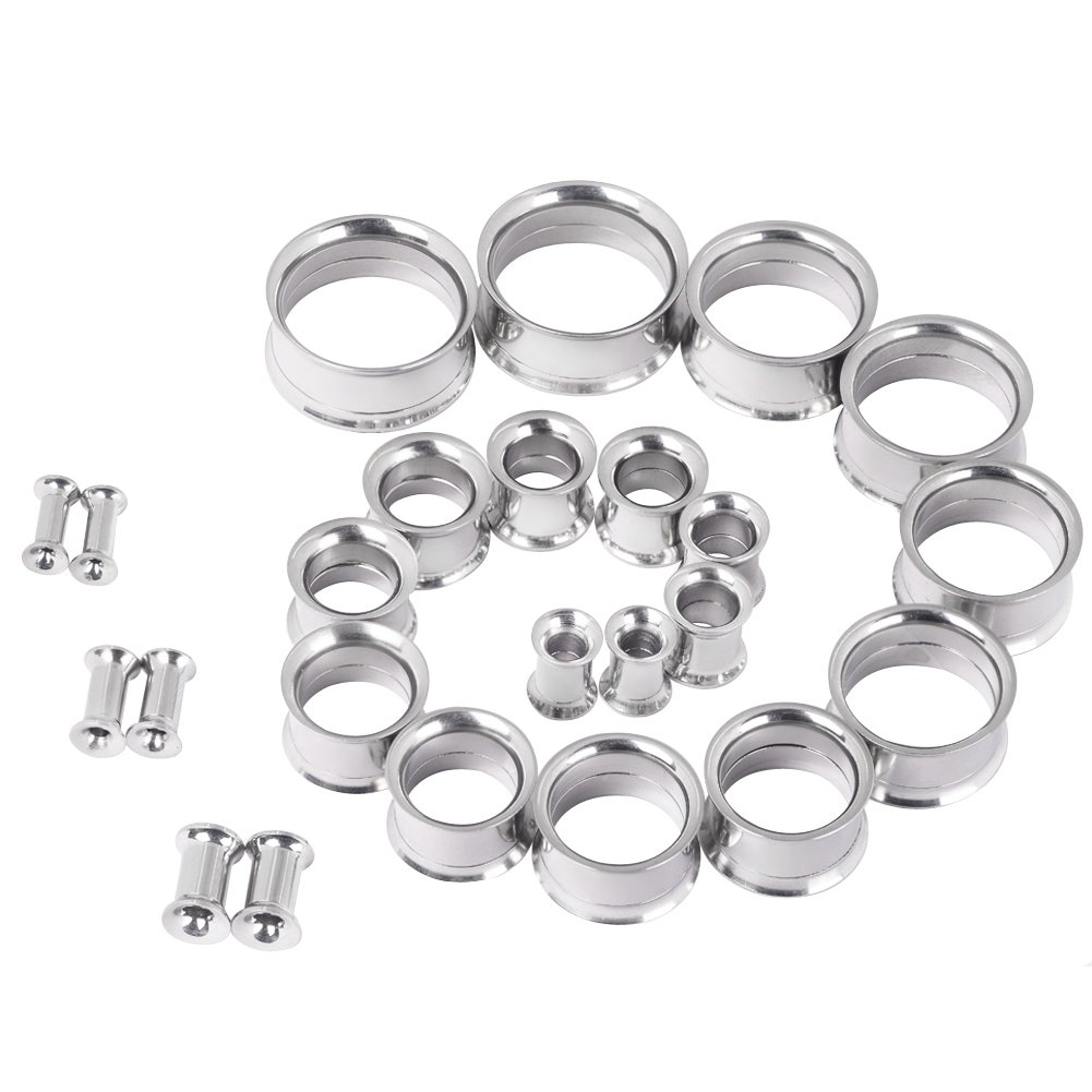 D&M Jewelry 12 Pairs 8g-7/8'' Stainless Steel Silver Screw Flesh Tunnels Stretching Kit (24pcs)