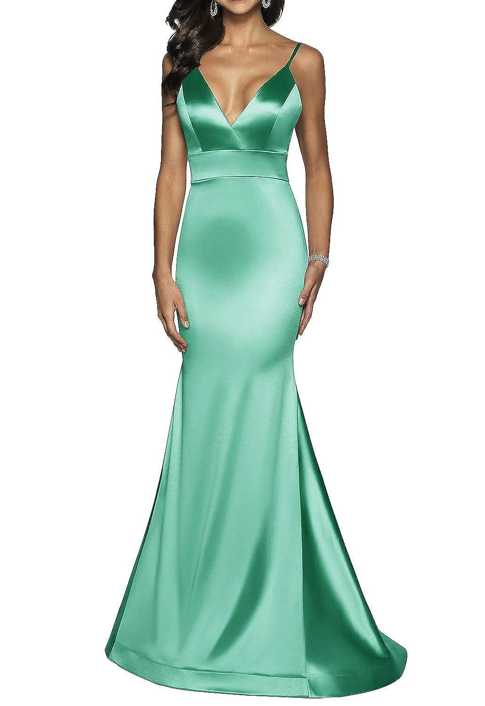 Mint Green Long VNeck Formal Prom Dress for Women with Trumpet Spaghetti Straps Skirt