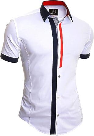 Camisa de Manga Corta para Hombre Collar clásico Verano Casual Ajustado Algodón: Amazon.es: Ropa y accesorios