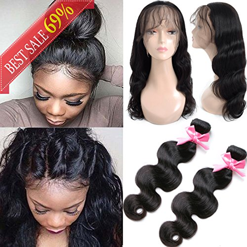 360 Lace Frontal with Bundles Pre Plucked (12 14+12 360Frontal) 8A Brazilian Virgin Hair Body Wave 2 Bundles with Closure Bady Hair 100% Unprocessed Human Hair Extensions Natural Color (Pre Plucked 360 Lace Frontal With Bundles)